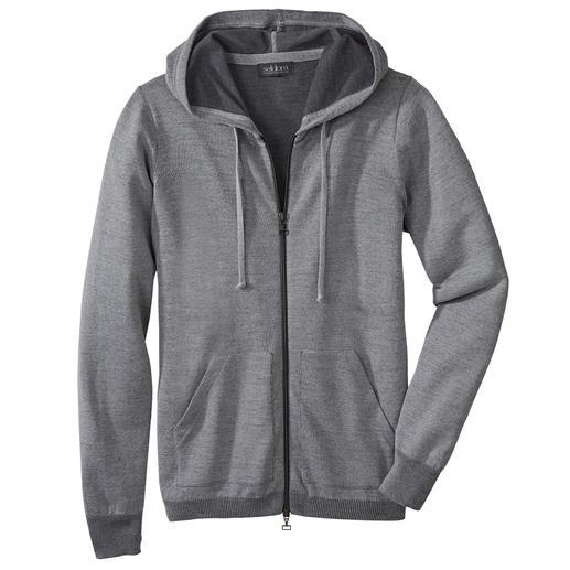 Seldom Herren-Doubleface-Strickjacke Das Verwöhnprogramm dieser Jacke: aussen feine Merino-Wolle, innen weiche GIZA-Baumwolle.