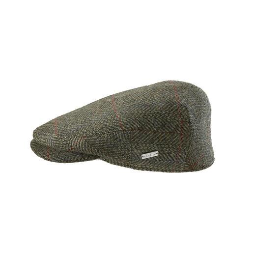 """Selten zu finden: eine Tweed-Schiebermütze, die noch """"made in England"""" ist. Gewebt von Abraham Moon & Sons, einer der letzten Vollstufen-Webereien Grossbritanniens."""