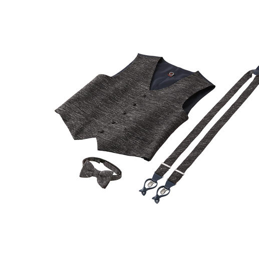Ascot Donegal-Schleife,-Hosenträger oder -Weste Stoffgleich wie vom Massschneider: das ausgefallene Accessoire-Set aus Weste, Schleife und Hosenträgern.