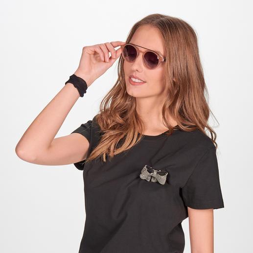 Nude-Colour-Sonnenbrille Die elegante Sonnenbrille zum Nude-Trend. Angesagt runde Gläser. Retro-Form.