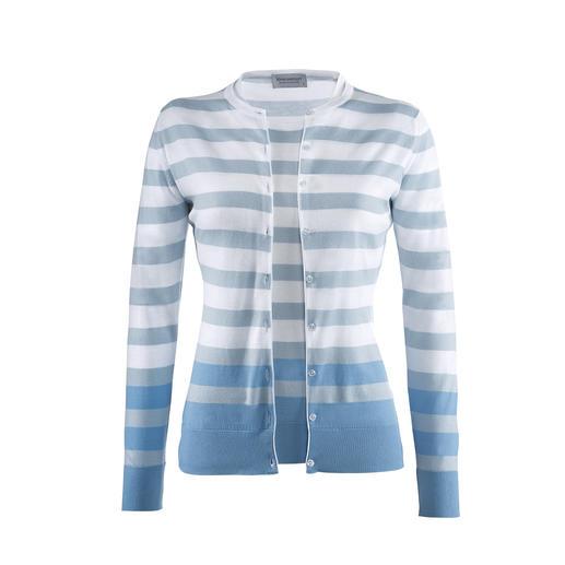 Smedley Blockstreifen-Twinset, Weiss/Bleu Purer Luxus aus wertvoller Sea Island-Baumwolle.