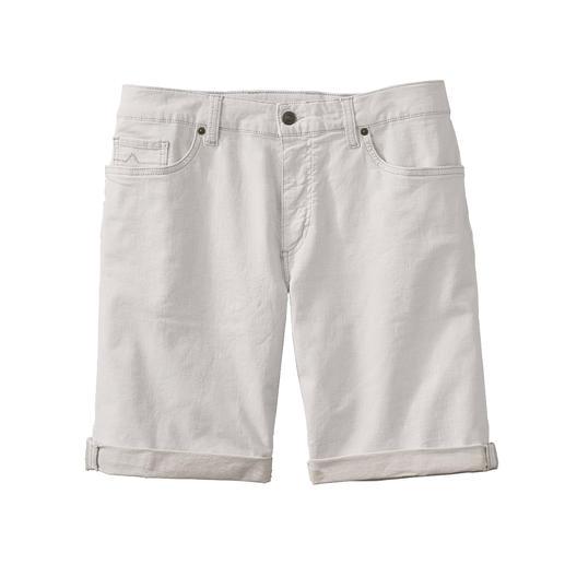 Alberto Leinen-Denim-Shorts Luftiger als andere: Die weisse Jeans-Shorts. Aus Leinen-Denim.
