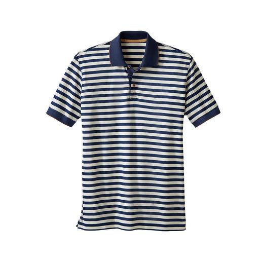 Das Piqué-Shirt mit dem seidenweichen Unterschied. Leicht fliessend, kühlend und mit modischem Glanz.