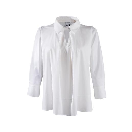 aybi Tunika-Bluse Alles andere als langweilig: die klassisch weisse Basic-Bluse mit topmodischem Facelift.