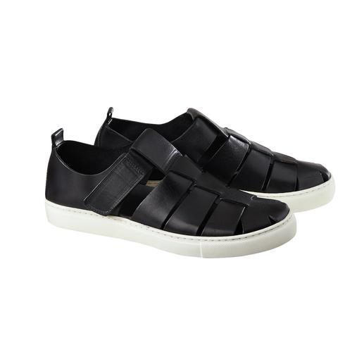 Die moderne Sneaker-Sandale. Luftige Sandalen-Form. Bequeme Sneaker-Sohle. Und Top-Qualität made in Italy.