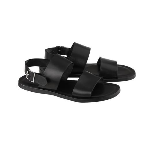 Kalbleder-Sandale Softes Kalbleder. Nahtlos eingearbeitetes Stossdämpfer-Fussbett. Verstellbarer Fersenriemen. Made in Italy.