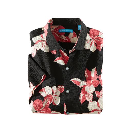 Désormais encore plus aérée : la chemise Aloha originale en coton crêpé. Désormais encore plus aérée : la chemise Aloha originale en coton crêpé.