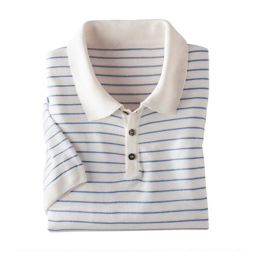 Das Poloshirt aus kühlem, lässigem Tencel™ /Leinen/Baumwoll-Mix. Weniger Glanz. Mehr Griffigkeit.