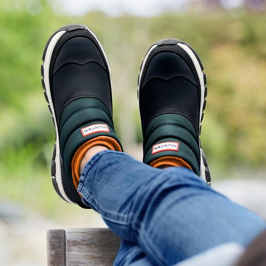 Hunter Puffer-Boots, Damen Duck-Schuh, Puffa-Style, Neopren, Sneaker-Sohle – 4 Trendelemente in einem Schuh, dabei 100 % schlechtwettertauglich.