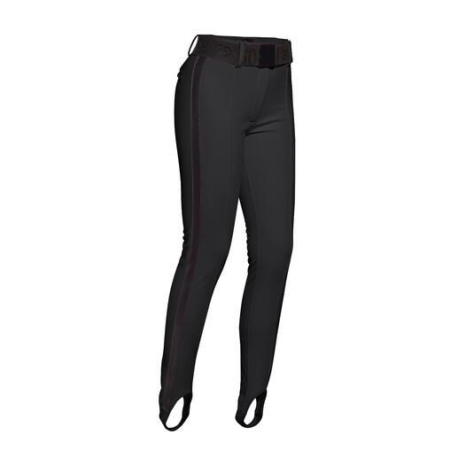 Sportliche Streetwear oder stylishe Sportswear? Die selten schlanke Ski- und Stiefel-Hose aus Softshell. Vom niederländischen Fashion-Press-Liebling Goldbergh.