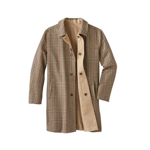 Der Mantel mit den zwei Gesichtern. Bitte wenden: Heute zeitloses Beige. Morgen modischer Glencheck.