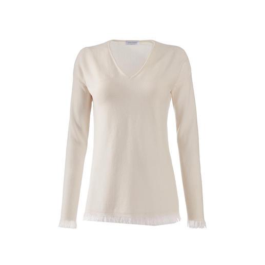 Fransen-Pullover sind jetzt modisch ganz weit vorn. Doch so elegant sind nur die wenigsten. Fransen-Pullover sind jetzt modisch ganz weit vorn. Doch so elegant sind nur die wenigsten. Made in Italy - von Gran Sasso.