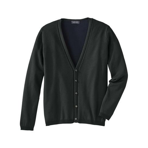 Diese seltene Strickjacke verbindet das Beste aus zwei Welten. Von Strick-Spezialist Seldom. Aussen die Wärme von Merino-Wolle. Innen die Weichheit von GIZA-Baumwolle.