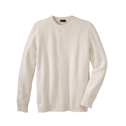 Die leichte (und ebenso warme) Alternative zu schweren Woll-Pullovern. Flauschiges Baumwoll-Garn aus Italien. Strickkunst von Phil Petter aus Österreich.