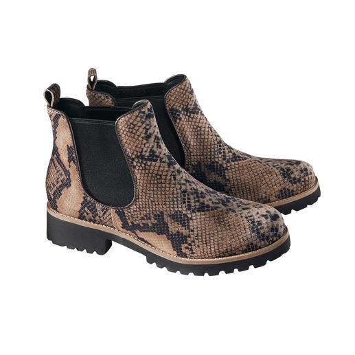 Modische Chelsea-Boots - so bequem und leicht wie Pantoffeln. Modische Chelsea-Boots - so bequem und leicht wie Pantoffeln. Mit stossdämpfender Hightech-Sohle und trendiger Reptilien-Optik.