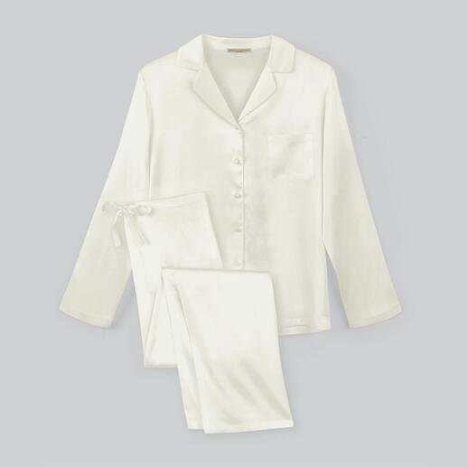Der Damen-Pyjama aus edler Stretch-Seide. Luxus made in Italy – zum überraschend erschwinglichen Preis. Von Chiara Fiorini.