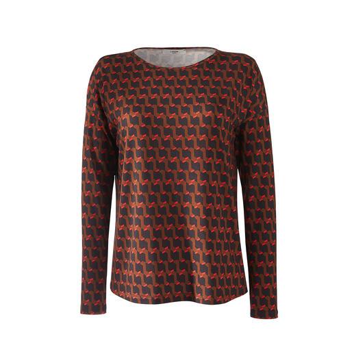 Der vielseitige Zweiteiler aus seidigem Viskose-Jersey. Modischer Print. Feminin schwingende Eleganz. Dabei unkompliziert und bequem wie ein T-Shirt.
