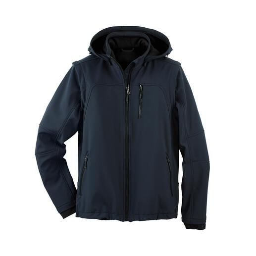 Softshell-Jacke für Herren Die Softshell-Jacke, die im Handumdrehen zur leichten Weste wird.