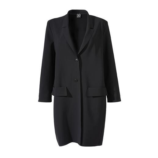 Der zeitgemässe, klassische Blazer-Mantel von Sassenbach ist ein wahres Must-have für jede Basis-Garderobe. Fair und nachhaltig in Deutschland gefertigt.