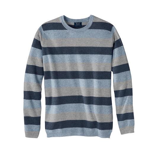 Der Streifen-Pullover mit dem Know-how einer der ältesten Strickmanufakturen Schottlands. So weich wie Kaschmir, so luftig wie Leinen: zwei edle Naturfasern in seltener Harmonie.