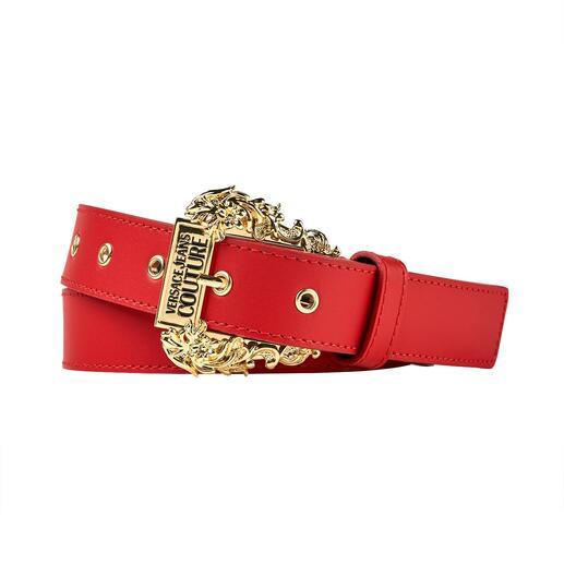 Der schmale Gürtel mit prachtvoller Barock-Schliesse im Western-Look. Gerade Top-Trend, bei Versace schon immer unverkennbares Signature-Piece.