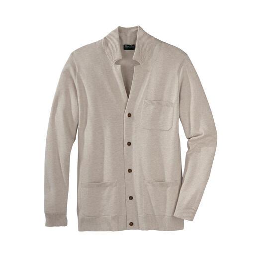 Der Basic-Cardigan aus erlesener Pima-Baumwolle. Erstaunlich weich und langlebig. In Peru erst handgepflückt, dann sorgfältig gesponnen und gestrickt.