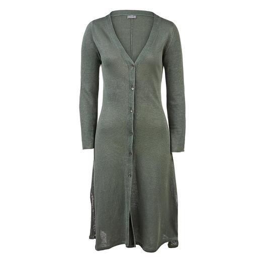 Das lässige Strickjacken-Kleid aus luftigem Leinen. Unter fairen Bedingungen made in Nepal. Von neyo.