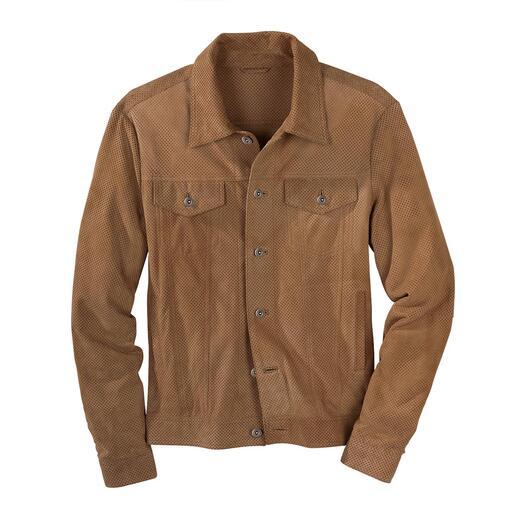 """Die """"Jeansjacke"""" in ihrer wohl edelsten und luftigsten Version. Aus leichtem, geschmeidigem Ziegenvelours – fein perforiert und ungefüttert."""
