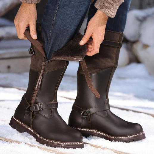 Fliegerpelz-Stiefel Der Fliegerpelz-Stiefel hält Ihre Füsse warm und trocken – selbst bei unter minus 15 Grad.