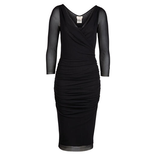 Das Little Black Dress für die Handtasche. Und für fast jeden Anlass. 170 Gramm leicht. Aus seltenem, hauchzartem Tüll-Jersey. Designt in Italien: von Fuzzi.
