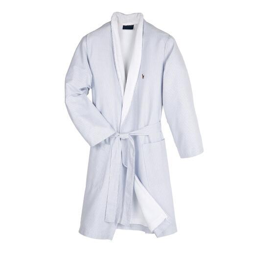 Der edle Preppy-Bademantel von Ralph Lauren, New York. So stilvoll sind nur wenige: aussen Oxford-Hemdenstoff, innen saugstarker Frottier.