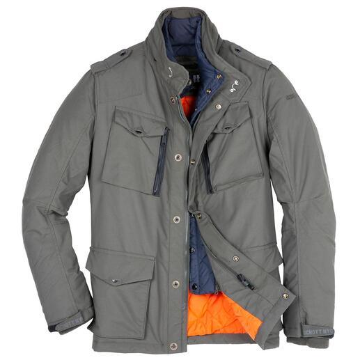 Das Fieldjacket auf Trendkurs: Einst erfunden für das US-Militär. Jetzt verbessert für Sie. Leicht, warm, wetterfest. Und mit reichlich Stauraum. Vom New Yorker Kultlabel Schott NY.