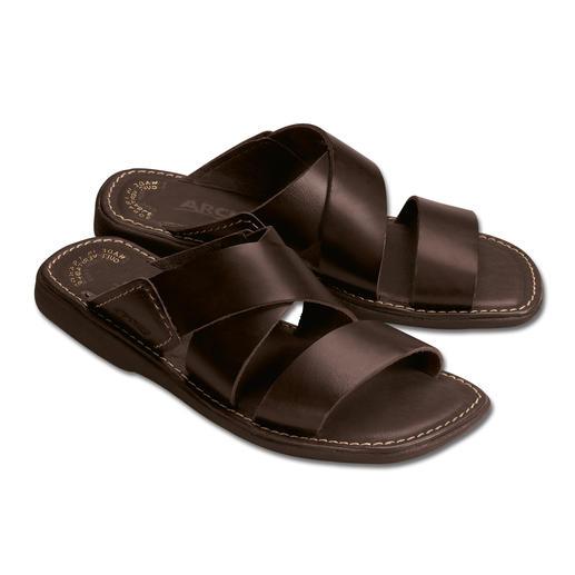 Bequeme Herren-Pantoletten Komfortables Leder und natürliches Latex lassen Ihre Füsse entspannen.