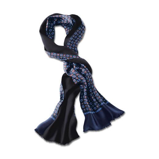 Doubleface-Retro-Schal Klassisches Design, neue Colorierung. Eine Seite Seide, eine Seite Wolle – ideal bei jeder Witterung.