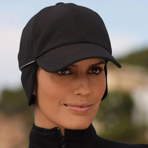 Die bequem elastische Kappe passt sich perfekt an und schützt zuverlässig bei Regen, Wind und Kälte. Zusätzlich verfügt sie über einen ausklappbaren Ohren- und Nackenschutz.