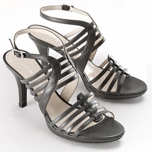 Lorbac Riemchen-Sandalette, Grau - Elegante Sandalette. Unerwartet komfortabel. Ein Schaumstoffkern formt Ihr individuelles Fussbett.