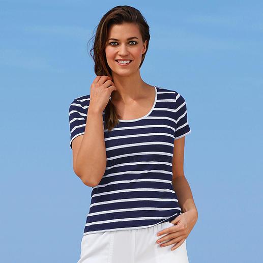 Knitted linen-Marine-T-Shirt Aussergewöhnlich gut, und doch selten zu finden: Ein T-Shirt aus gestricktem Leinen.