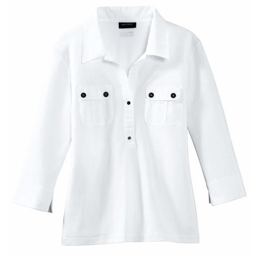 Schick wie eine Bluse. Aber vielseitig und pflegeleicht wie ein T-Shirt. Aus weichem Interlock-Jersey mit konfektioniertem Kragen. Von Saint James/ Frankreich.