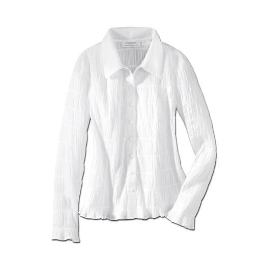 Crash: die wohl unkomplizierteste weisse Bluse, die Sie je hatten. Crash: die wohl unkomplizierteste weisse Bluse, die Sie je hatten. Bequem elastisch und immer in Bestform.