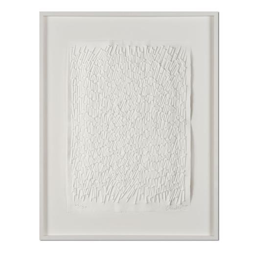 Günther Uecker – Feld, 2011 - Prägedruck auf 300-g-Büttenpapier  Auflage: 90 Exemplare   Exemplar: e. a.  Blattgrösse (B x H): 50 x 70 cm   Masse: gerahmt 73 x 93 cm
