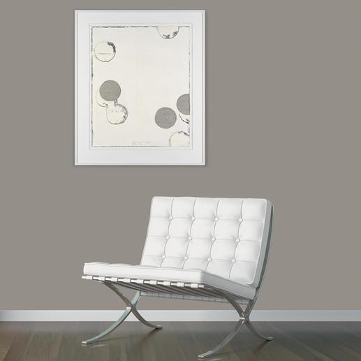 Ein einzigartiges Kunstwerk, das durch die Verwendung der klassischen Töne auf weisslich-grau-gebrochenem Farbgrund sofort Jupp Linssen zuzuordnen ist.