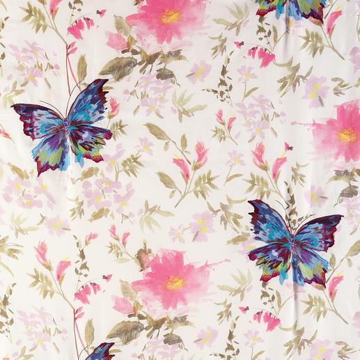 """Vorhang """"Paradise Garden"""", 1 Vorhang Paradiesische Kombination: Zarter Aquarell-Print mit farbstarker  Nadelmalerei."""