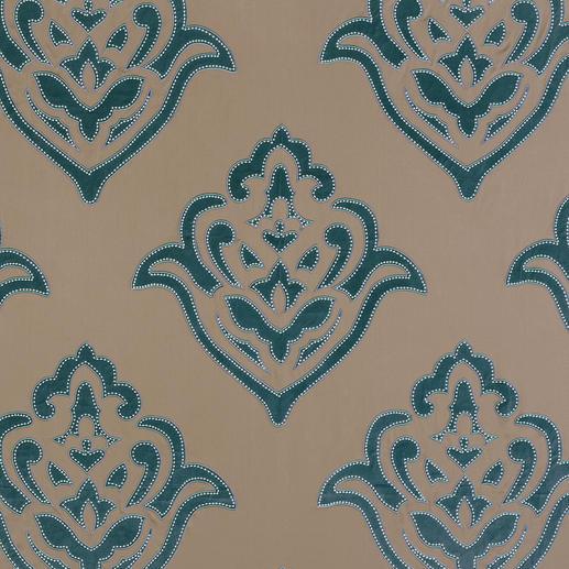"""Vorhang """"Siwa"""", 1 Vorhang Kostbarer Satin. Prachtvolle Velours-Applikationen. Aufwändige Stickerei."""