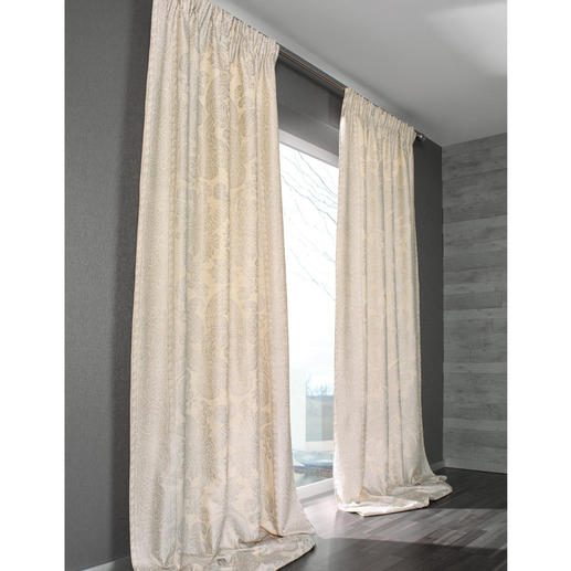 """Vorhang """"Dinastia"""", 1 Vorhang - Die Premium-Klasse der Dekorationsstoffe: Rohseide mit Platin. Aufwändig von Hand bedruckt."""