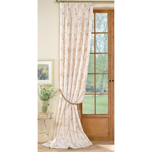 Vorhang Avellino - 1 Stück Brillant changierender Taft mit eleganter Blüten-Stickerei.
