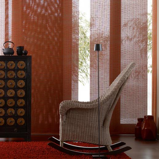 """Flächenvorhang """"Kyoto"""", 1 Flächenvorhang Was aussieht wie Bast, ist ein beflockter Stoff in seltener Panamabindung."""
