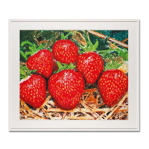 """Thomas Baumgärtel – o. T. Erdbeeren - Die berühmteste Banane der Kunstwelt: Baumgärtels Erdbeeren bestehen aus hunderten Bananen. Edition """"o. T. Erdbeeren"""" – exklusiv für Pro-Idee. Handübersprüht. 20 Exemplare."""