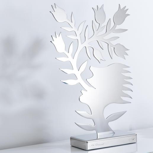 Ren Rong – Blumensprache, Edelstahl Das berühmteste Motiv eines der renommiertesten chinesischen Künstler.Ren Rongs Pflanzenmensch als limitierte Edelstahl-Edition. Masse: 61 x 36 cm