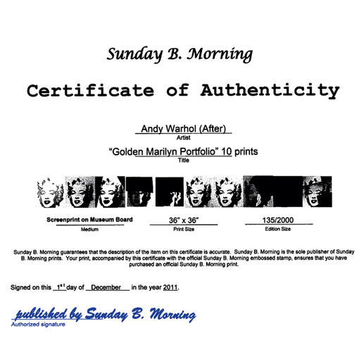 Das Zertifikat befindet sich auf der Rückseite des Werkes.