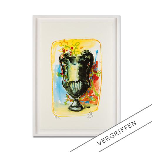 """Markus Lüpertz: """"Vase 3"""" - Keine Lüpertz-Edition ist wie diese. Einer seiner seltenen farbenfrohen Siebdrucke. Gering limitiert mit 40 Exemplaren."""